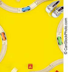 手紙, toys., フレーム, 黄色, 木製である, 光景, road., 背景, コピー, mockup, 作られた, スペース, 立方体, 上, 列車