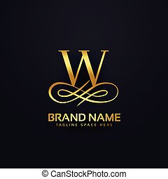 手紙, w, ブランド, ロゴ, デザイン, 中に, 金, スタイル