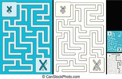 手紙, -, x, アルファベット, 迷路, 容易である