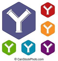 手紙 y, パイプ関節, 六角形, セット, 形態, アイコン