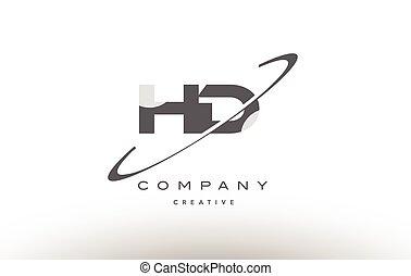 手紙h, 灰色, d, ロゴ, swoosh, アルファベット, hd