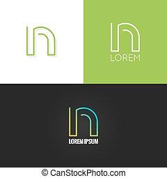 手紙n, ロゴ, アルファベット, デザイン, アイコン, セット, 背景