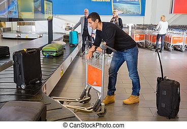 手荷物, コンベヤー, 待つこと, 空港, 人, ベルト