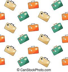 手荷物, パターン, 白, バックグラウンド。