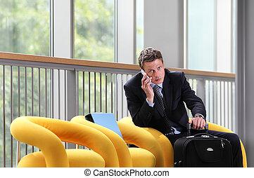 手荷物, ビジネス, モデル, 旅行, 話し, 電話, 人