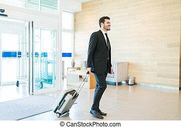 手荷物, マネージャー, ホテル, 入る