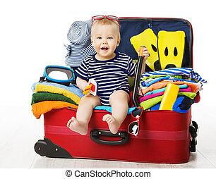 手荷物, モデル, 旅行, 隔離された, 休暇, 赤ん坊, パックされた, 子供, スーツケース, 白, 中, 袋, 子供