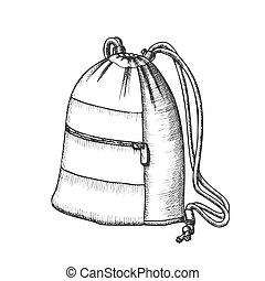 手荷物, ロープ, 現代, 袋, ベクトル, モノクローム