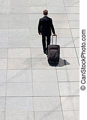 手荷物, 企業である, 人, 去ること