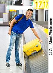 手荷物, 取得, 若い, 空港, 人, ベルト