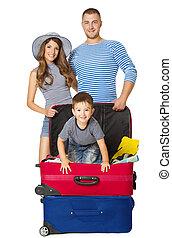 手荷物, 家族, モデル, 旅行, 人々, 休暇, 隔離された, 背景, 子供, スーツケース, 白, 上に, 袋