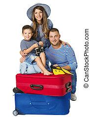 手荷物, 家族, 人々, 旅行, 隔離された, 手荷物, 親, 背景, 子供, スーツケース, 白, 上に