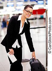 手荷物, 彼女, 手荷物, 点検, 女性実業家, 空港, 大きさ