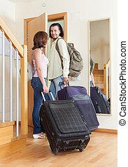 手荷物, 恋人, 一緒に, 去ること, ∥(彼・それ)ら∥, すばらしい, 家