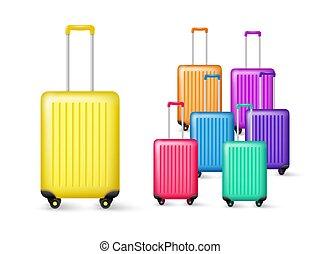 手荷物, 現実的, 旅行, collection.