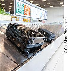 手荷物, 空港, ベルト, コンベヤー
