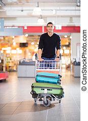 手荷物, 若い, カート, 空港, ハンサム, 人