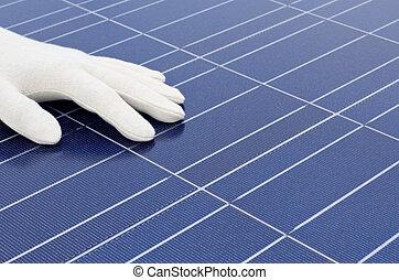 手袋をしている, 細胞, 手, 太陽, 前部, 白