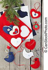 手製, フェルト, クリスマス装飾