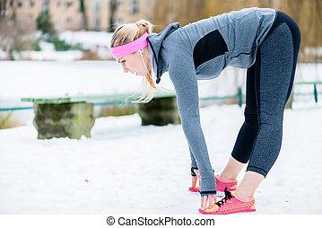手足, 女, 冬, 彼女, 伸張, スポーツ, 練習