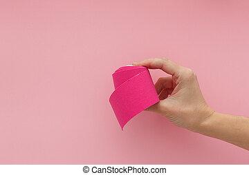 手首, 隔離された, テープ, 接着剤, kinesiology, 痛み, tape., 物理療法, ピンク, tension., 痛み, 選択肢, 手, 伸縮性がある, バックグラウンド。, 治療上, すみれ, medicine., 疲れた