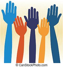手, ∥あるいは∥, 自発的に申し出る, voting.
