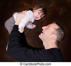 手, お父さん, 高く