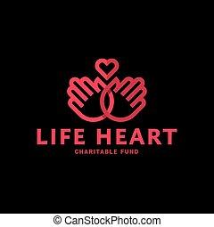 手, そして, 心, 中に, 1(人・つ), 線, ロゴ, 平ら, スタイル, 傾向, ベクトル, 慈善