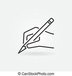 手, ∥で∥, 鉛筆, ベクトル, アイコン, 中に, 薄いライン, スタイル
