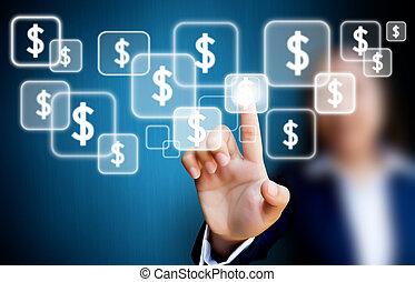 手, の, ビジネスの女性たち, ボタンを押すこと, 上に, a, タッチスクリーン, ドル, ボタン
