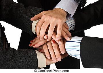 手, の, ビジネス 人々, 提示, 統一