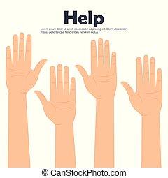 手, アイコン, 助け, 人々