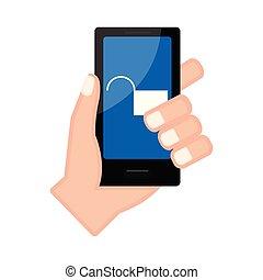 手, アイコン, smartphone, 保有物, lockpad