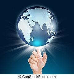 手, アイロンかけ, 地球, タッチスクリーン, ボタン