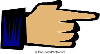 手, イラスト, とんびが指さす
