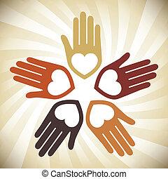 手, カラフルである, 合併した, デザイン, 情事