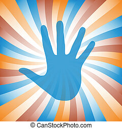 手, カラフルである, vector., sunburst