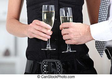 手, ガラス, 保有物, ワイン