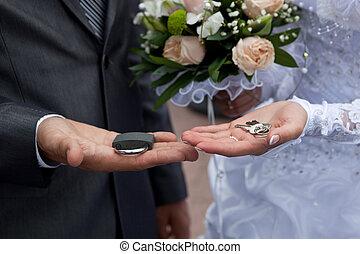 手, キー, 錠, 結婚叢, couple's