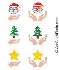 手, -, クリスマス, santa, アイコン