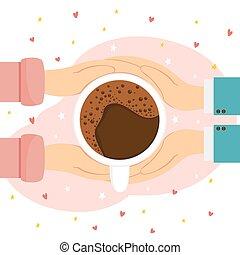 手, コーヒー, バレンタイン, 心, カップ
