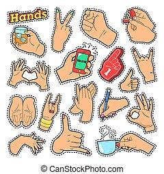 手, サイン, ∥で∥, オーケー, 勝利, 岩, ∥ために∥, プリント, バッジ, パッチ, stickers., ベクトル, いたずら書き