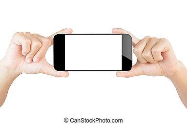 手, ショー, smartphone, 隔離された, 白, クリッピング道, 中