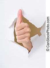 手, ジェスチャーで表現する, の上, 人間, 親指