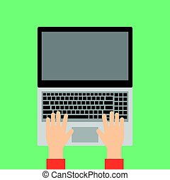 手, タイプ, 上に, ラップトップ, keyboard.
