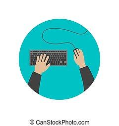 手, タイプ, 上に, keyboard.