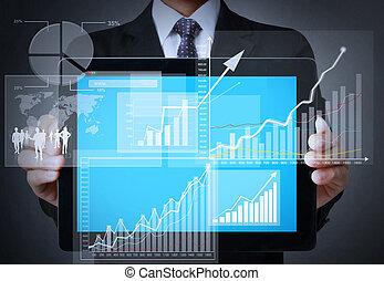 手, タッチスクリーン, グラフ, 上に, a, タブレット