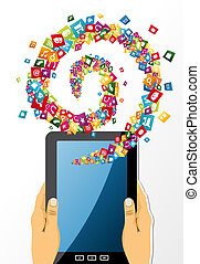 手, タブレット, app, 手掛かり, icons., pc, 人間