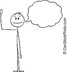 手, テキスト, イラスト, 彼の, ベクトル, 漫画, 挨拶, ビジネスマン, ∥あるいは∥, 空, 人, 振ること, 泡, balloon, スピーチ
