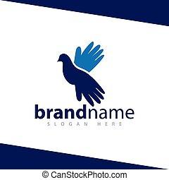 手, テンプレート, ロゴ, 鳩, 鳥, 株